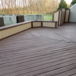 Two tone solid stain applied on this deck by Deck Resurrect
