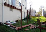 After permits were obtained, demolition of old deck by DeckResurrect – Columbia, MD