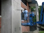 Power Wash of stubborn dirt from EIFS at UMES in Delmarva
