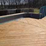Heavily weathered deck cleaned and ready for stain – Centreville, MD