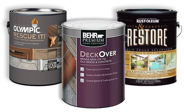 For very weathered composite and wooden decks, these latex products provide a liquid armor for a thick stain with grit. They cover many imperfections of older decks or worn composite decking